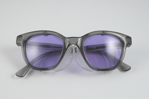 cf510abd25 Economy Style Frame glasses. The industry standard for many years. Smoke  gray plastic frames equipped with permanently attached clear side shields.